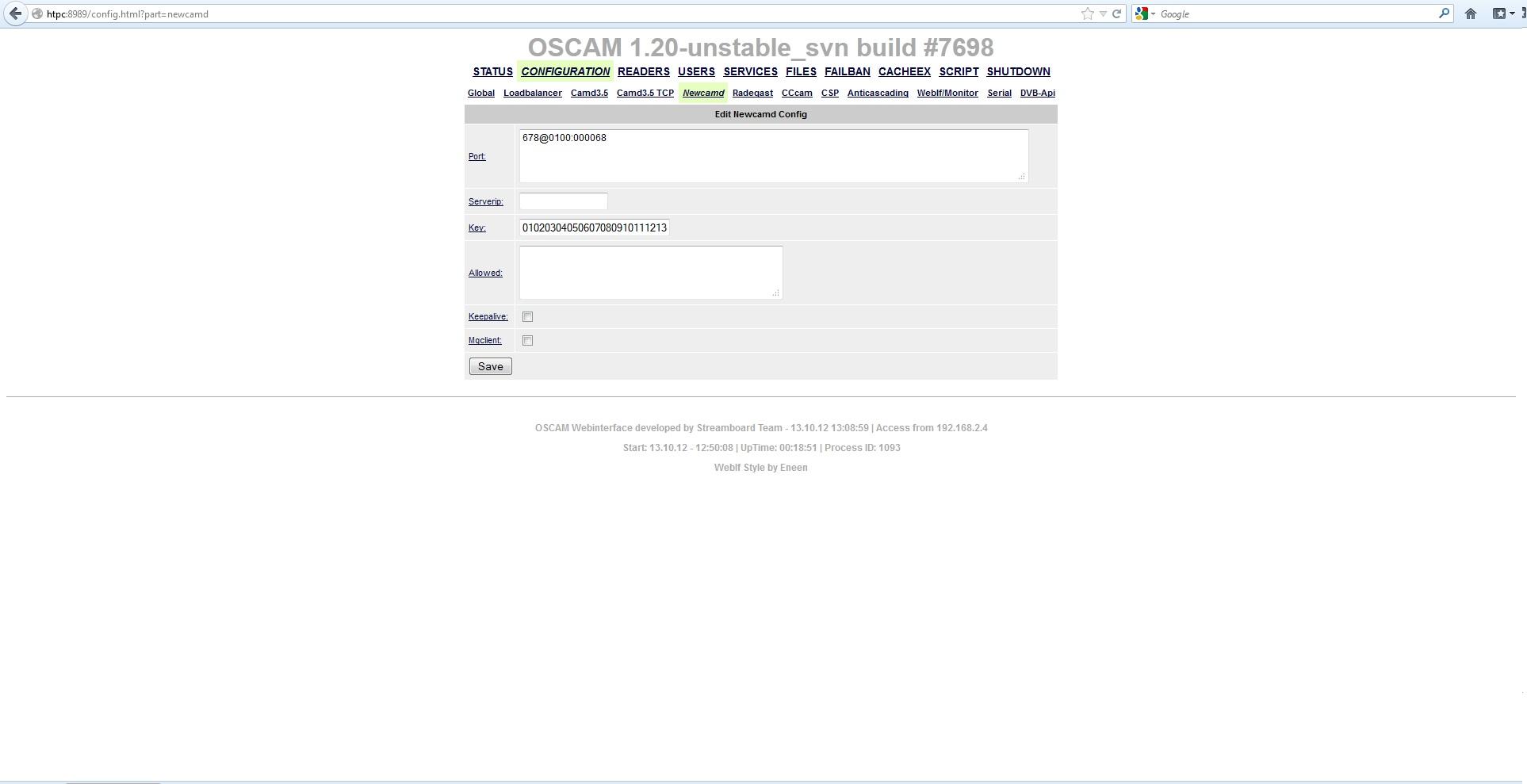 Tvheadend + oscam + cccam EM: No available descrambler