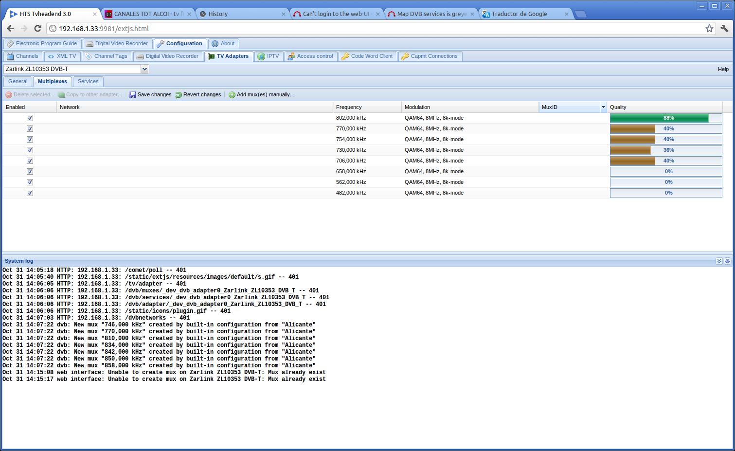 Map DVB services is greyed, Please help me!! - Tvheadend