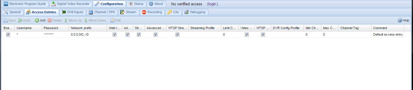 access control help - Tvheadend
