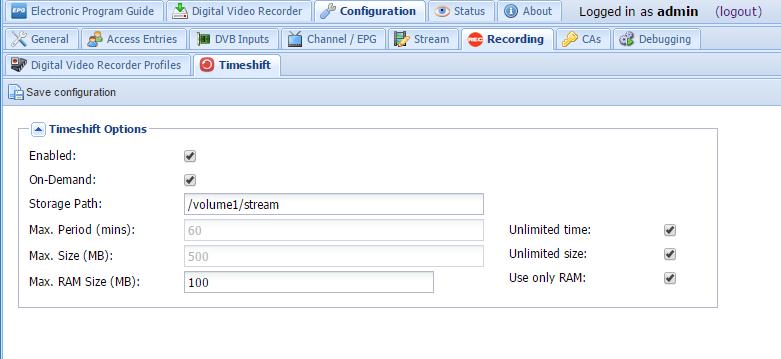 Bug #3504: Synology/xpenology an HP N54L Timeshift error - Tvheadend