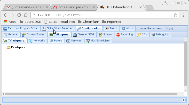 tvheadend packman package does not show adapters - Tvheadend