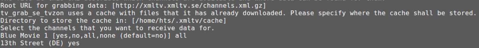 I'm trying but I can't in no way: setting epg - Tvheadend