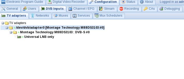 Setup DVBSky S960 with Monoblock LNB for Astra - Tvheadend