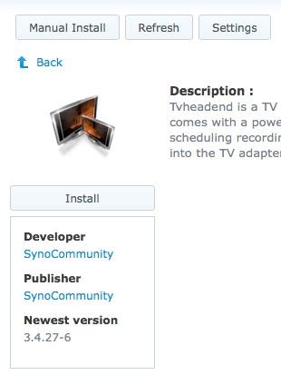 Tvheadend packages for Synology NAS - Tvheadend