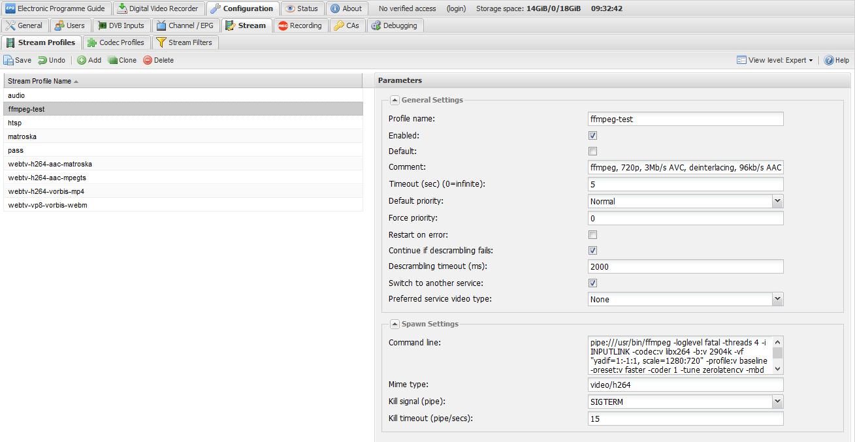 Codec profile - full frame rate deinterlacing? - Tvheadend