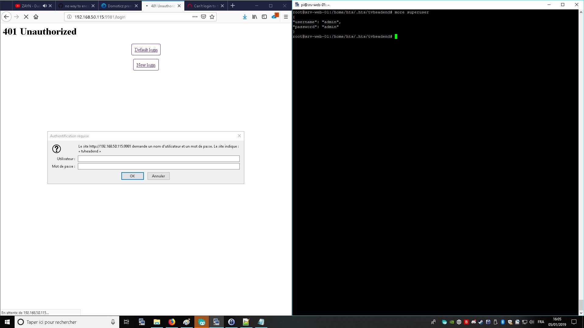 web Ui login failed after a frech install - Tvheadend