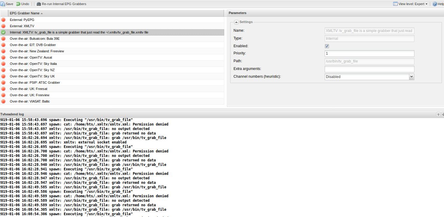 tv_grab_file xmltv softlink permissions problems - so close - Tvheadend