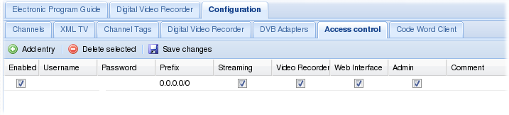 Access configuration - Tvheadend